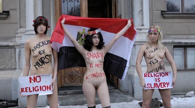 Alia Mahdi mit Femen - Femenistinnen gegen Sharia