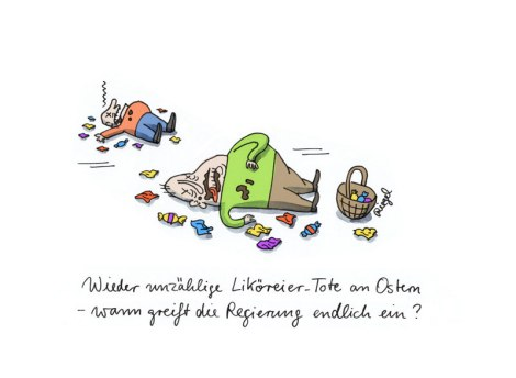 Regierung hilf! ,Wieder unzählige Liköreier-Tote an Ostern – wann greift die Regierung endlich ein? , Elektronische Postkarte, Ostereier, Schnapspralinen [01.04.2013]