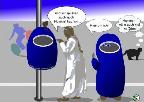 Burka als Mülleimer