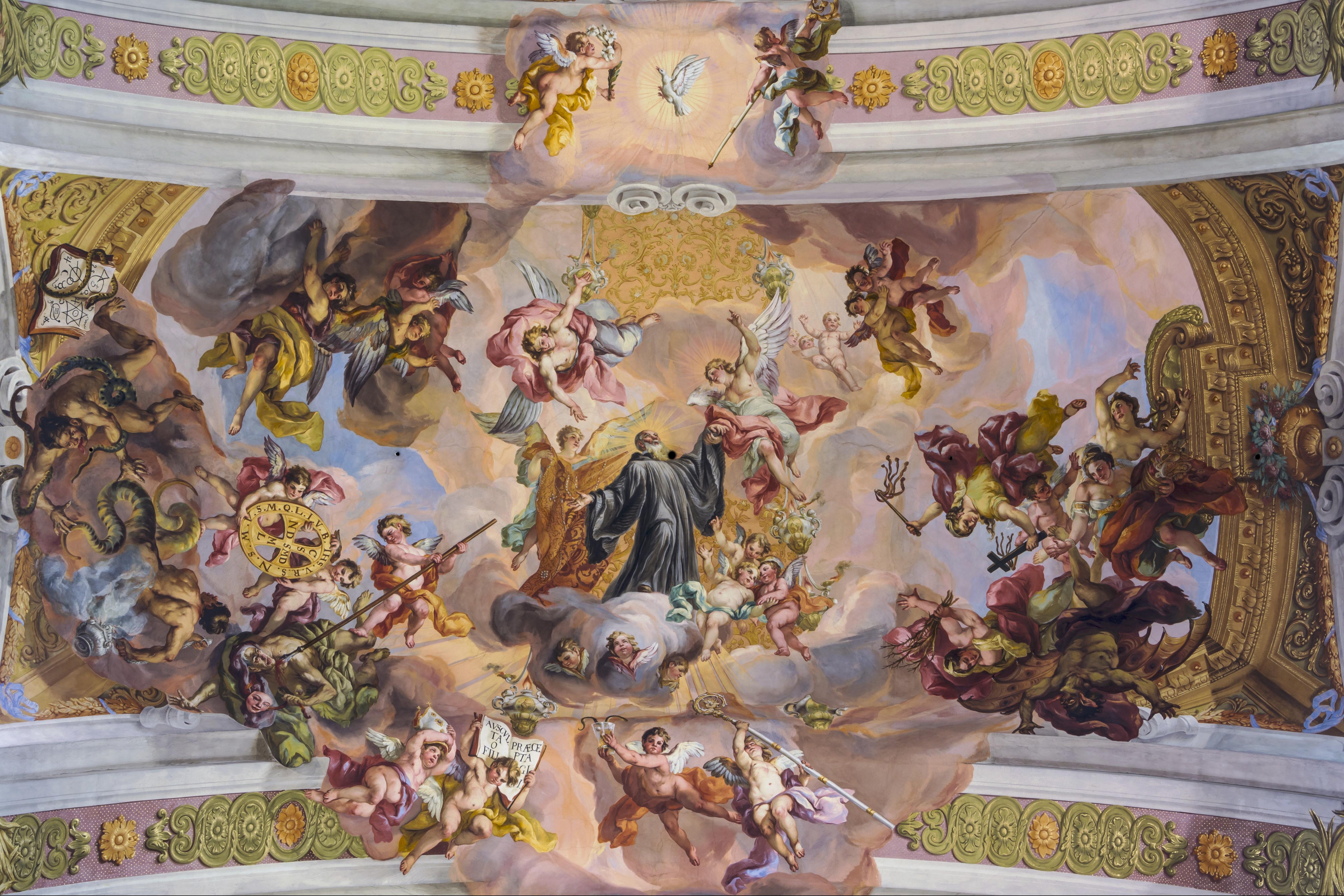 Via Triumphalis des hl. Benedikt – Deckenfresko der Stiftskirche Melk von Johann Michael Rottmayr (1722)