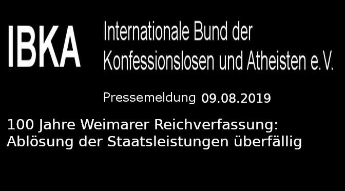 100 Jahre Weimarer Reichverfassung: Ablösung der Staatsleistungen überfällig