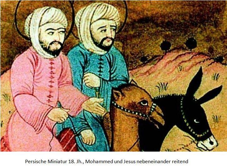 Mohammed und Jesus nebeneinander reitend